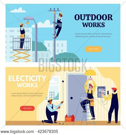 Professional Electricians Workers Perform Indoor And Outdoor Electric Works.