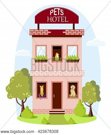 Hotel For Pets. A Building For Overexposing Pets While Their Owners Are Traveling. Caring For Differ