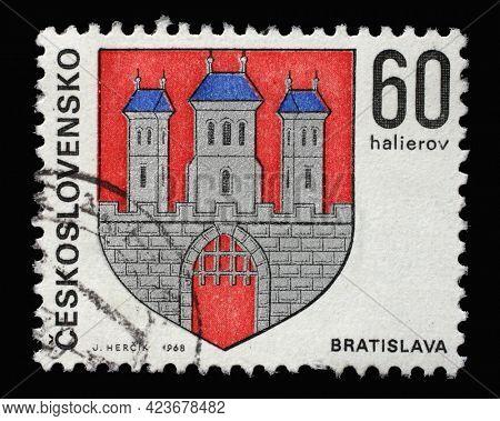 ZAGREB, CROATIA - SEPTEMBER 18, 2014: Stamp printed in Czechoslovakia shows coat of arms of Bratislava, circa 1968