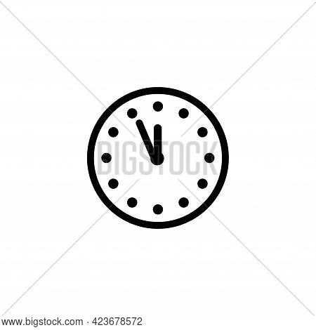 Mechanical Wall Clock, Watch Time. Flat Vector Icon Illustration. Simple Black Symbol On White Backg