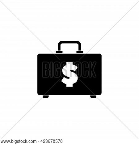 Briefcase With Dollar, Money Suitcase. Flat Vector Icon Illustration. Simple Black Symbol On White B