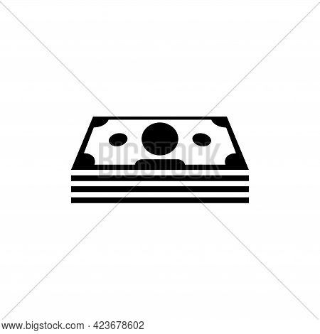 Stack Money, Pack Cash, Wad Dollars. Flat Vector Icon Illustration. Simple Black Symbol On White Bac