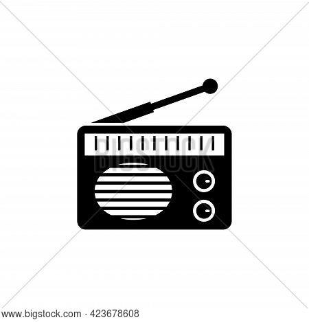 Retro Radio, Old Portable Receiver. Flat Vector Icon Illustration. Simple Black Symbol On White Back