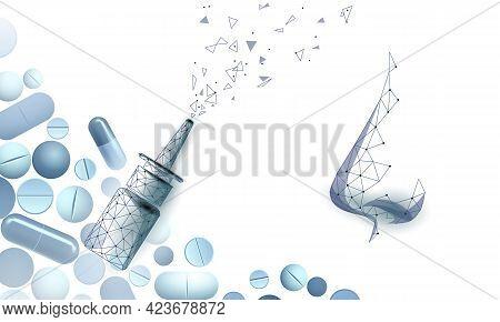 Rhinitis Nose Low Poly. Treatment Medicine Coryza. Pharmacy Runny Nose Spray. Drug Capsule Polygonal