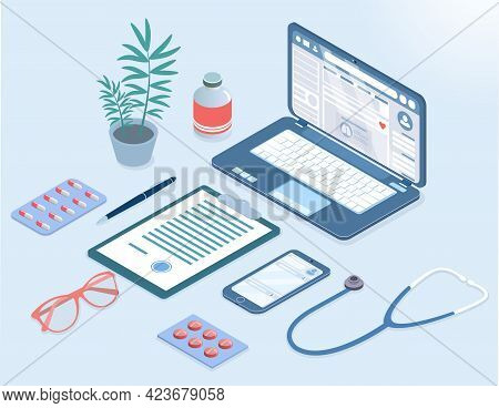 Work Desk With Essential Medical Supplies Of A Doctor In Hospital. Laptop, Pills, Stethoscope And Ot