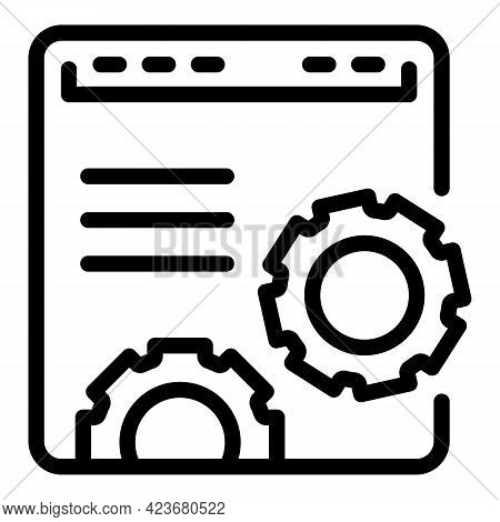Global Search Engine Icon. Outline Global Search Engine Vector Icon For Web Design Isolated On White