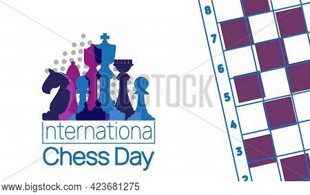 International Chess Day Banner. Vector Illustration Of Chess Pieces King, Queen And Bishop Near Ches