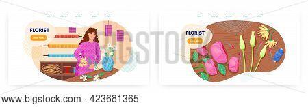 Florist Designer Landing Page Design, Website Banner Vector Template Set. Woman Shop Assistant Makin