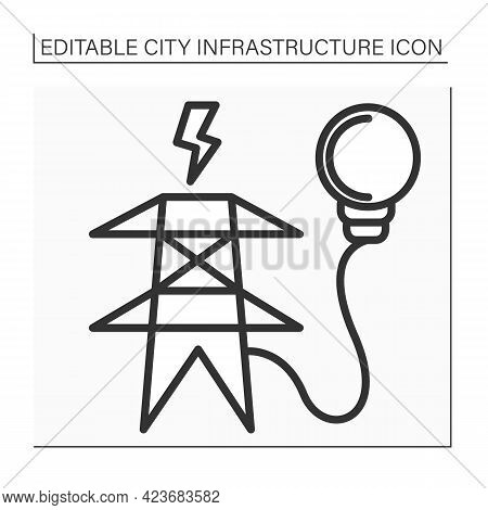 Electricity Supply Line Icon. Utility Pole Connected To Power Lines To Distribute Lower Voltage Powe