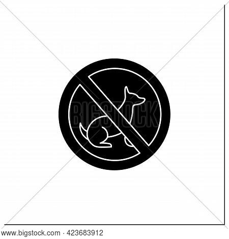 No Dogs Symbol Glyph Icon. No Dogs Allowed. Animal Prohibition Sign. Public Place Navigation. Univer