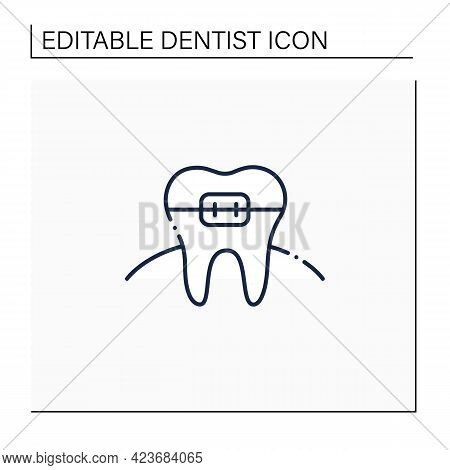 Orthodontics Line Icon. Orthodontists Fixed And Corrected Bite And Realigned Teeth Over Time. Tooth