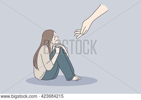 Psychotherapy Psychological Support Concept. Young Sad Depressed Woman Sitting Getting Help And Cure