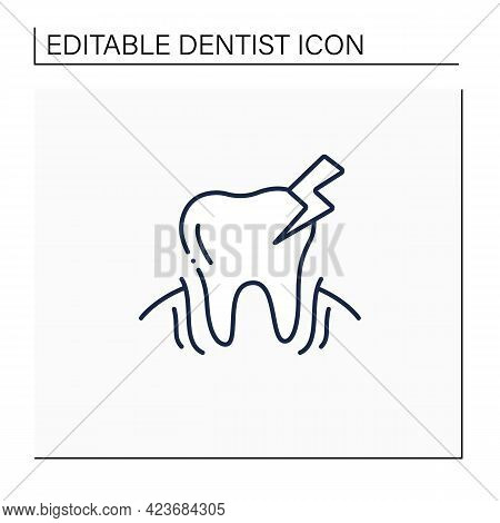 Oral Diseases Line Icon. Treatments Root Canals And Surgeries Dental Oral Illness. Diagnosing Tooth