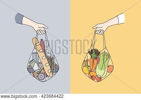 Dieting, Choosing Between Various Foods Concept. Human Hands Holding Bags Of Healthy Vegetable Vegan