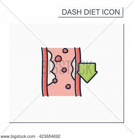Reducing Cholesterol Color Icon. Low Cholesterol Level. Proper Nutrition. Dash Diet Concept. Isolate