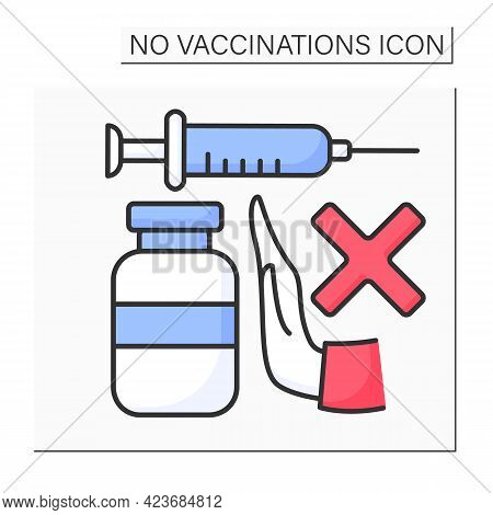Stop Vaccination Color Icon. Ban On Using Vaccines To Fight Against Covid19. No Vaccinations Concept