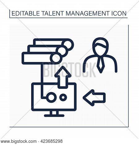 Hris Line Icon. Human Resource Information System. Intersection Of Human Resources And Information T
