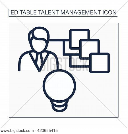 Talent Recruitment Line Icon. Filling Vacancies. Ongoing Strategy To Find Specialists, Leaders, Futu