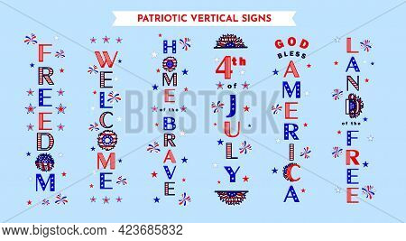 6 Vertical Porch Sign Designs With Patriotic Quotes Welcome, God Bless America, 4th Of July, Home Of