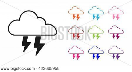 Black Storm Icon Isolated On White Background. Cloud And Lightning Sign. Weather Icon Of Storm. Set