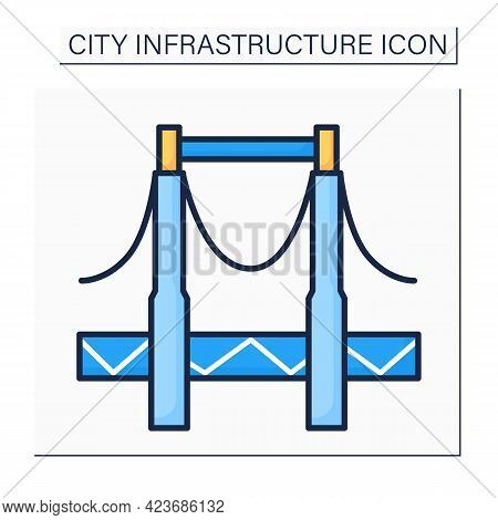 Bridge Color Icon. Structure Connecting Separate Area Points. Provides Passage Over The Obstacles. O