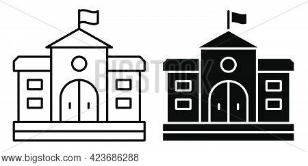 Facade Of School House. Exterior Of University Building. Icon. Simple Black And White Vector