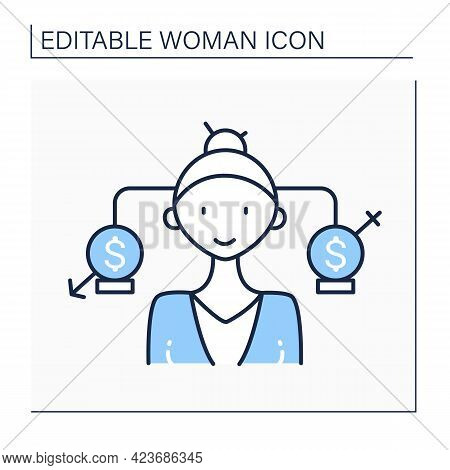 Equal Pay Line Icon. Business Gender Equality With Businessman And Businesswoman. Symbol Of Equal Pa