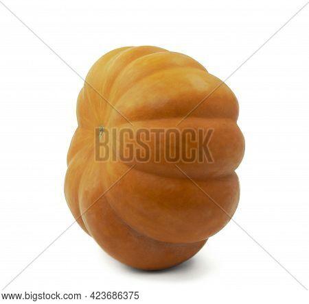 Lenten Menu. Healthy, Vegetarian Food. Autumn Orange Pumpkin On A White Background. Isolated. With S