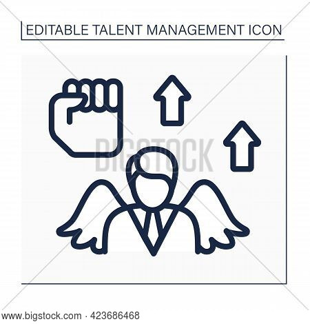 Boost Morale Line Icon. High-morale Workplaces Increased Employee Retention, Better Productivity. Pe