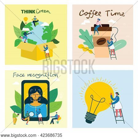 Vector Illustration Of Connection, Team Leader, Online Review, Time Mamagement, Coworking Space, Sav