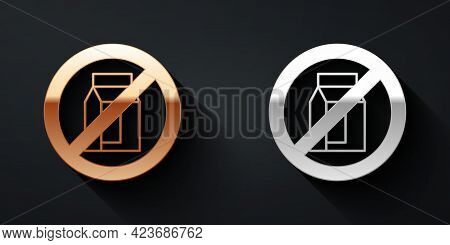 Gold And Silver No Pack Of Milk Icon Isolated Gold And Silver Background. Not Allow Milk. Allergy Co