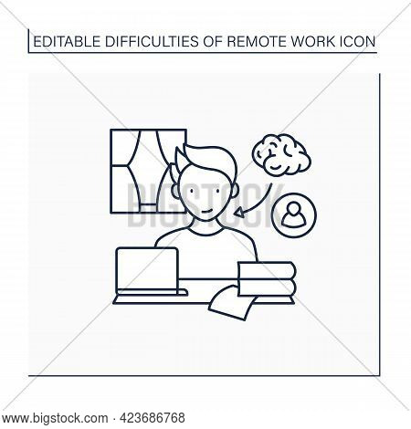Remote Work Line Icon. Learning And Mentorship. Improve Work Skills. Studying New Information. Caree