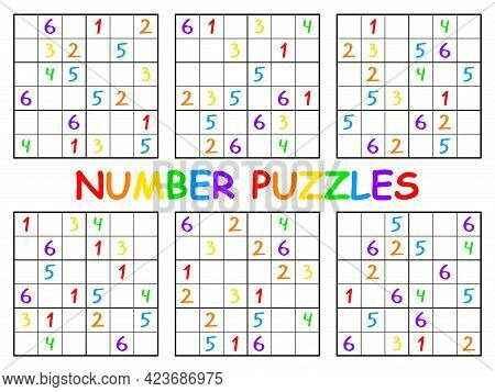 Number Puzzles Funny Sudoku Set Vector Illustration. Simple Educational Logical Puzzle For Children