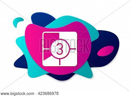 Color Old Film Movie Countdown Frame Icon Isolated On White Background. Vintage Retro Cinema Timer C