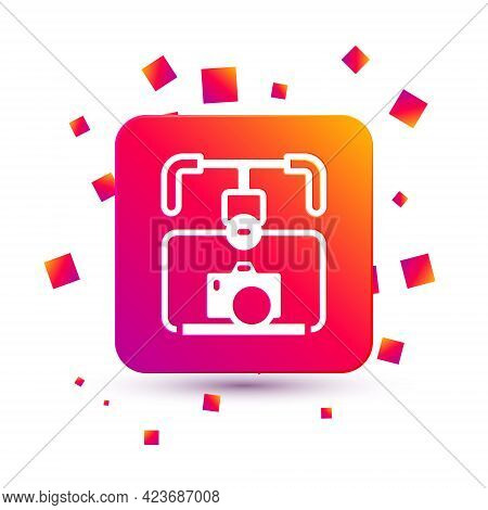 White Gimbal Stabilizer With Dslr Camera Icon Isolated On White Background. Square Color Button. Vec