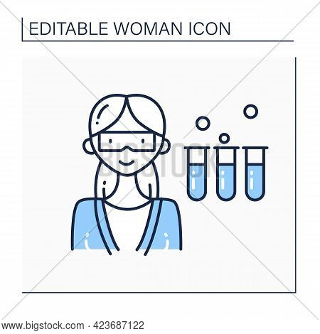 Scientist Woman Line Icon. Female Chemist In Coat With Test Tubes. Having Chemical Reagents. Dangero