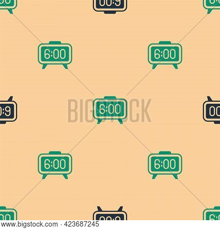 Green And Black Digital Alarm Clock Icon Isolated Seamless Pattern On Beige Background. Electronic W