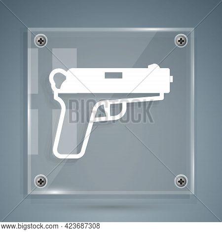 White Pistol Or Gun Icon Isolated On Grey Background. Police Or Military Handgun. Small Firearm. Squ