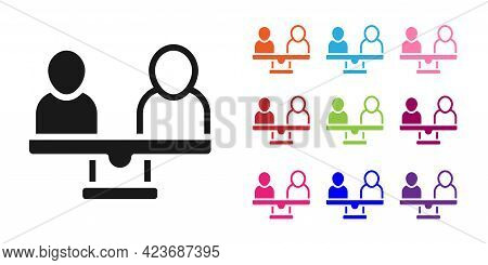 Black Gender Equality Icon Isolated On White Background. Equal Pay And Opportunity Business Concept.