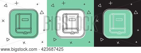 Set Law Book Icon Isolated On White And Green, Black Background. Legal Judge Book. Judgment Concept.