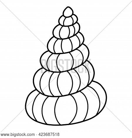 Seashell Hand-drawn Simple Clipart Vector Illustration. Spiral Shellfish Doodle Black Outline Isolat