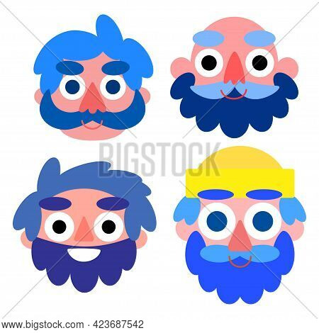 Happy Seamen Set Isolated On White Vector Illustration. Funny Four Faces Smiling Cartoon Seafarers.