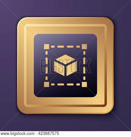 Purple Geometric Figure Cube Icon Isolated On Purple Background. Abstract Shape. Geometric Ornament.