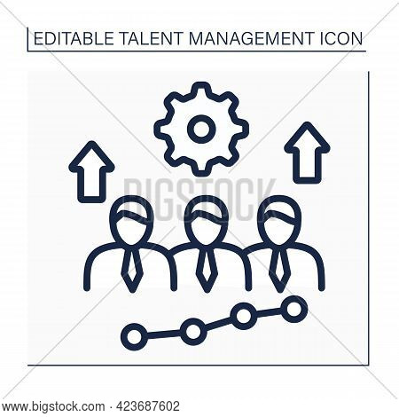 Develop Employees Line Icon. Professional Training To Improve Skills And Grow Knowledge With Employe