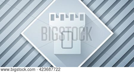 Paper Cut Castle Tower Icon Isolated On Grey Background. Fortress Sign. Paper Art Style. Vector