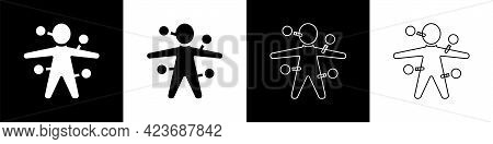 Set Voodoo Doll Icon Isolated On Black And White Background. Vector
