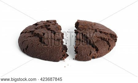 Chocolate Americano Cookies Isolated On A White Background.