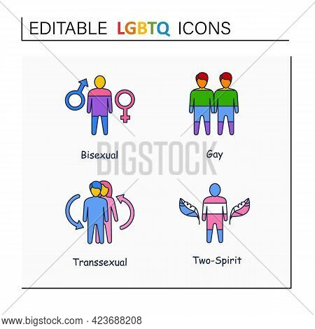 Lgbtq Collections Line Icons. Self Acceptance. Sexual Orientations. Bisexual, Gay, Transsexual, Two