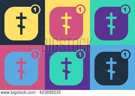 Pop Art Online Church Pastor Preaching Video Streaming Icon Isolated On Color Background. Online Chu