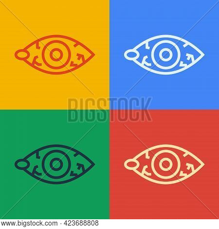 Pop Art Line Reddish Eye Due To Viral, Bacterial Or Allergic Conjunctivitis Icon Isolated On Color B